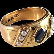 18k Gold dark blue Sapphire Ring Jan Sjöberg, Stockholm 1965