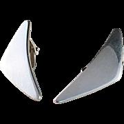 1960s Hans Hansen, design 432 Bent Gabrielsen, Denmark. Pair of Sterling Silver Clip on Earrings. Rare.
