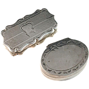 Two Sterling Silver Vinaigrettes. Birmingham and Sweden 1800s Both with loose grille.