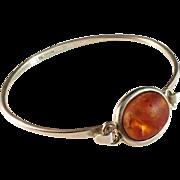 Niels Erik From, Denmark Vintage Sterling Silver, Amber Bracelet Bangle.