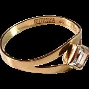 Bengt Hallberg 18k Gold Rock Crystal Ring. Köping Sweden 1978