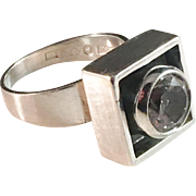 Alton, Sterling Silver Rock Crystal Modernist 1960 Ring.