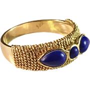 14k Gold Lapis Lazuli Ring. Vintage Continental Europe, probably Italy 1960s