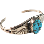 Tom Willeto Sterling Silver Turquoise Native American Bangle Bracelet.