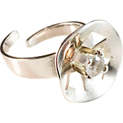 Modernist Ekström 1972 Sterling Silver Rock Crystal Ring. Sweden.