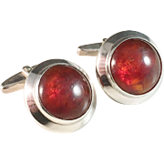 Large Niels Erik From, Denmark. Sterling Silver and Amber Cufflinks. Vintage 1960s.