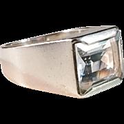 Gustaf Dahlgren 1969 Modernist Sterling Silver Rock Crystal Ring.