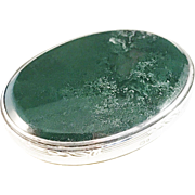 Stunning Alfred Clark Sterling Moss Agate Ring Trinket Box. London 1928