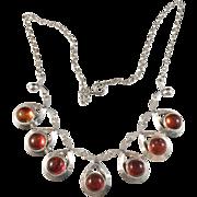 Hermann Siersbol, Denmark. 1950s Solid Silver Amber Necklace.