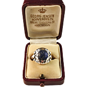Georg Jensen 1933-44 Sterling Lapis Lazuli #11B Ring in Original Box. Wow.