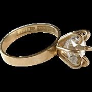Famous Modernist Bengt Hallberg, 1971 Rock Crystal 18k Gold Ring. Excellent.