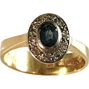 year 1955 Sapphire Diamond 18k Gold Ring. Johan Pettersson, Stockholm. Mid Century.