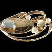 year 1956 18k Gold Moonstone Cultured Pearl Brooch. Stockholm Swedish Mid Century