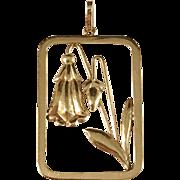 year 1946 Stockholm 18k Gold Bell-Flower Pendant. Excellent.
