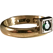 Vintage 1960 Alberktsson Sweden Genuine Emerald 18k Gold Ring