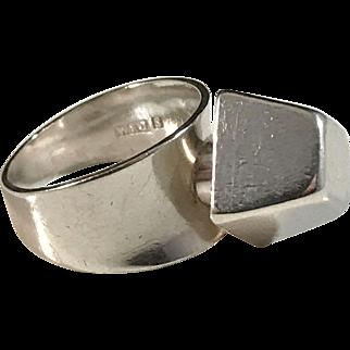 Waldemar Jonsson, Sweden 1967. Solid Silver Modernist Cube Ring.