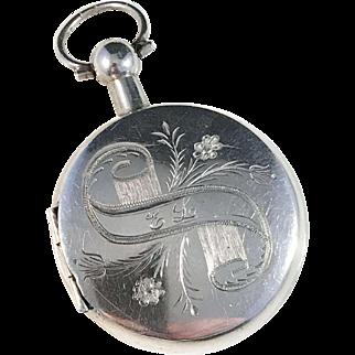 Antique year 1894 Solid Silver Photo Locket / Vinaigrette Pendant. Maker JA Bokström, Uddevalla Sweden.