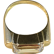 year 1956 Rock Crystal and 18k Gold Ring. Renowned Heribert Engelbert for studio Stigbert, Stockholm Sweden. Excellent Mid Century. Signed