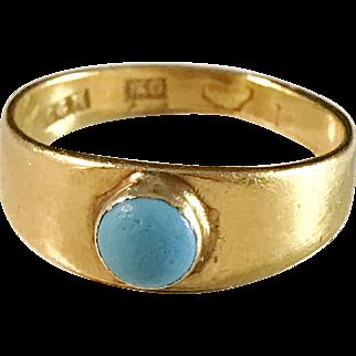 year 1888. Antique 18k Gold Turquoise Ring. Royal Jeweller CG Hallberg Stockholm Sweden.