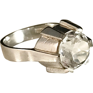 Bengt Hallberg Sterling Silver Rock Crystal 1962 Early Modernist Ring. Wow.