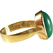 Year 1928, Maker Wahlberg city of Sundsvall Sweden. 18k Gold Malachite Ring. Wow!
