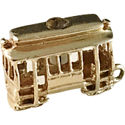 Vintage 14K Gold Quartz San Francisco Trolley Cable Car Charm.