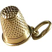 Vintage 18k Gold Thimble Charm. Swedish import.