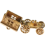 Movable Vintage 9k Gold Carriage Charm. Excellent.