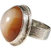 Arne Fridorff 1976 Sterling Silver Agate Modernist Ring. Sweden. Adjustable. Very rare.