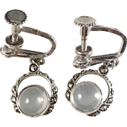 Sterling Silver Moonstone Marcasite Earrings. Swedish import early 1900s