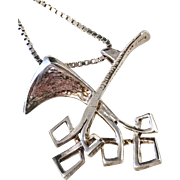 Famous Robbert for Bengt Hallberg, 1970s Sterling Silver Modernist Pendant Necklace. Excellent.