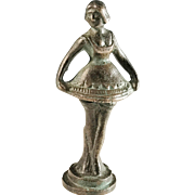 French Ballerina Bronze Wax Seal / Desk Stamp mid to late 1800s. Marked with maker's name.