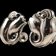 Georg Jensen Sterling Silver Earrings Tulip Design No 100. Copenhagen Denmark 1950s