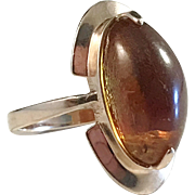 Russian 14k Gold Baltic Amber Ring. Modernist c 1970
