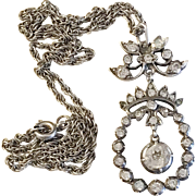 Antique Sterling Foil-Backed Paste Stone Necklace Pendant. Switzerland c 1900.