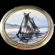 1903-1926 Gilt Sterling Hand Painted Boat Ship Porcelain Brooch. Signed. Large.
