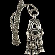 Large Kalevala Koru year 1972 Finland Solid Silver Viking Pendant Necklace. Excellent.
