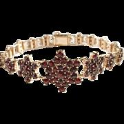 Early 1900s Silver Garnet Bracelet Gold Wash. Excellent. Maker HE, south Germany.
