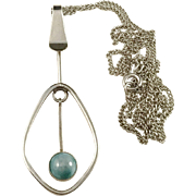 Ceson, Gothenburg 1960 Solid Silver Agate Modernist Pendant Necklace.