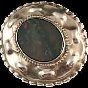 Antique year 1904 Solid Silver Bloodstone Mourning Brooch. Svedbom, Sweden.