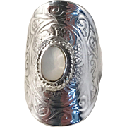Rare Vintage Viking Replica Sterling Mother of Pearl Shield Ring.