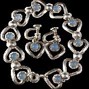 Designer KE Palmberg for ALTON 1960, Sweden Solid Silver Paste Stone Heart Love Set. Earrings Bracelet.
