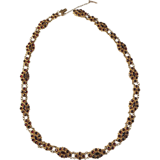 OUTSTANDING Georgian French 14k Gold Garnet Necklace. Before year 1838. Hallmarked poss Guise 1768-1774. Wow.