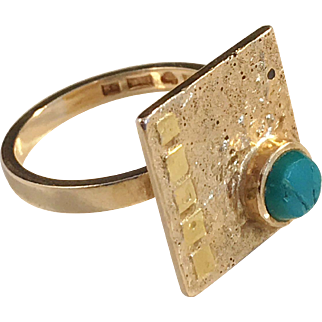 Unique Ateljé Candra, Gson Liedholm Sweden year 1968. 18k Gold Chyrsocolla Modernist Ring. 7.2gram. Wow.