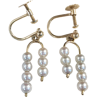 Michelsson, Stockholm year 1953. 18k Gold Small Cultured  Pearl Earrings. Mid Century. Excellent.