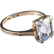 Russia 1950s Mid Century 14k Gold light Blue Stone Ring.