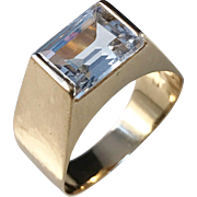 18k Gold Rock Crystal Year 1962, Ceson Gothenburg Sweden Ring. Size: 6 1/2