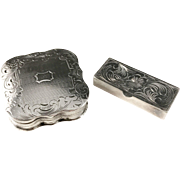 Dutch Solid Silver Pill Box year 1852 + German Solid Silver Pill Box c 1950s