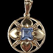 Ahlström, Sweden year 1948. Mid Century Heart 18k Gold Blue Stone Pendant. Excellent.