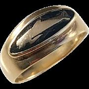 Vintage 14k Gold Black Enamel Whale Ring. Rare.
